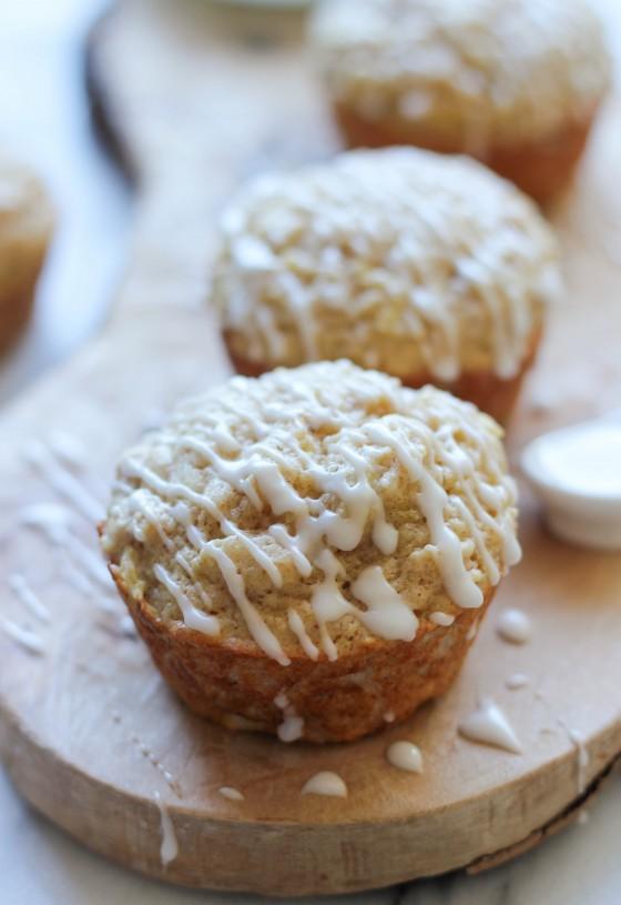 Vanilla Glazed Apple Cinnamon Muffins   Baked by Rachel