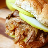 Slow Cooker Pulled Pork with Apples and Onions Recipe by The Lemon Bowl on bakedbyrachel.com
