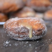 Cider Yeast Doughnuts Filled With Cinnamon Caramel by Bakeaholic Mama on bakedbyrachel.com