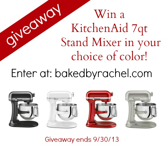 KitchenAid 7Qt Stand Mixer Giveaway at bakedbyrachel.com