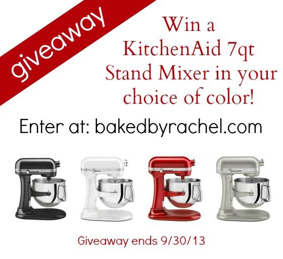 KitchenAid 7Qt Stand Mixer Giveaway at bakedbyrachel.com