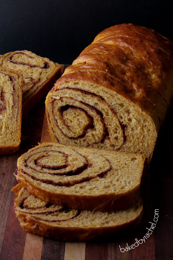 Pumpkin Cinnamon Swirl Bread Recipe from bakedbyrachel.com