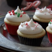 Mini Vanilla Cupcakes with Peppermint Buttercream Recipe from bakedbyrachel.com