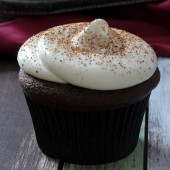 Chocolate Eggnog Cupcakes with Eggnog Cream Cheese Frosting Recipe from bakedbyrachel.com