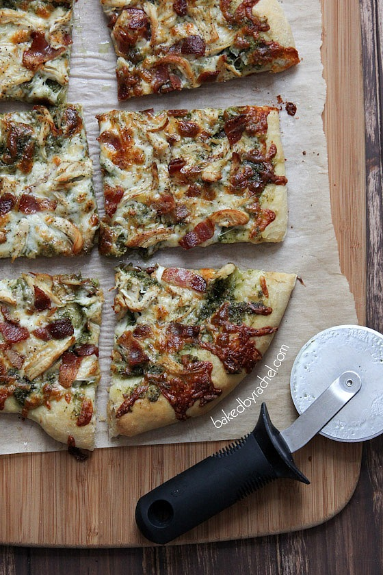 Bacon-Basil Pesto and Chicken Pizza Recipe from bakedbyrachel.com Perfect for pizza night!