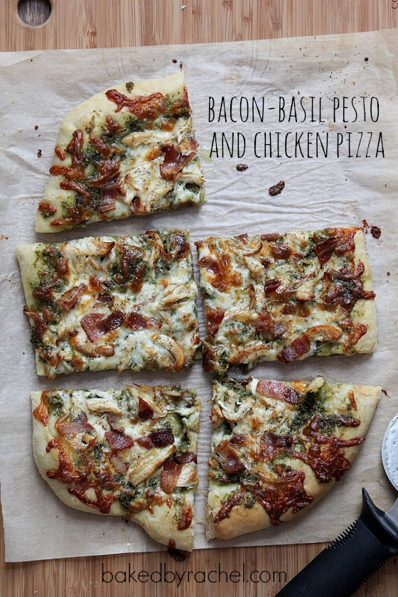 Bacon-Basil Pesto and Chicken Pizza Recipe from bakedbyrachel.com ...