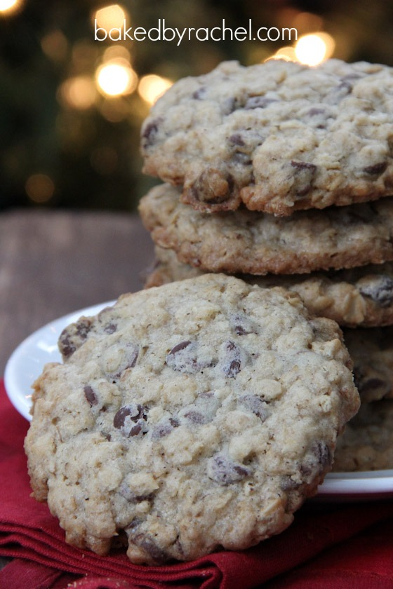 Oatmeal Chocolate Chip Cookies from bakedbyrachel.com
