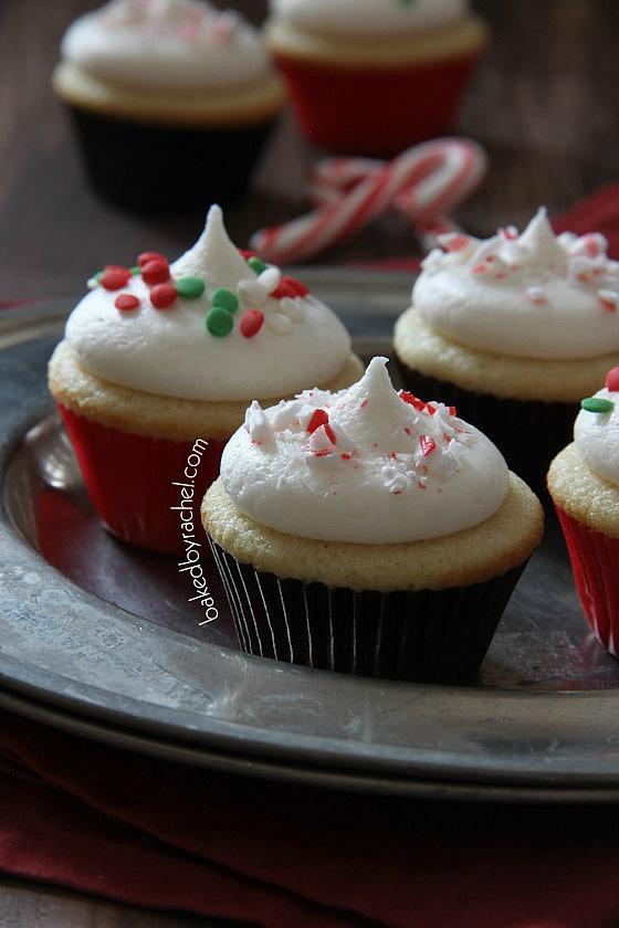 Mini Vanilla Cupcakes with Peppermint Buttercream Recipe from bakedbyrachel.com