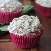 Chocolate Banana Streusel Muffins Recipe from bakedbyrachel.com
