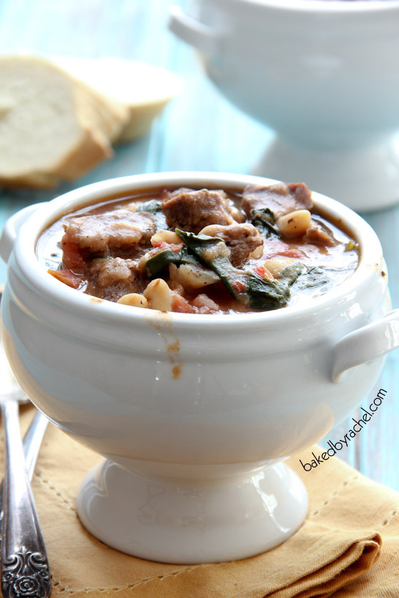 Slow Cooker Beef and White Bean Stew Recipe from bakedbyrachel.com