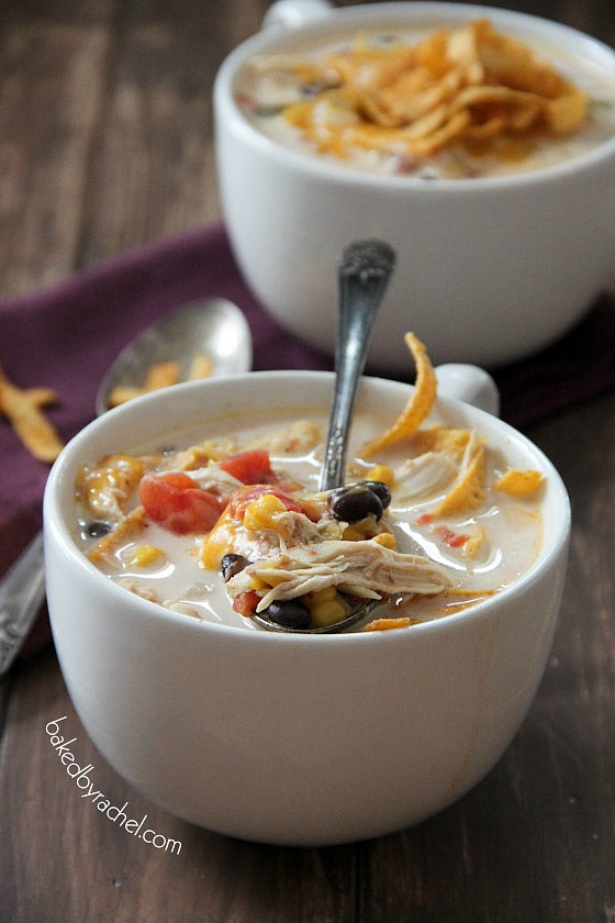 Slow Cooker Chicken Enchilada Soup Recipe from bakedbyrachel.com