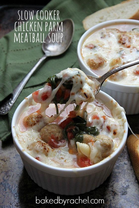 Slow Cooker Chicken Parm Meatball Soup Recipe from bakedbyrachel.com