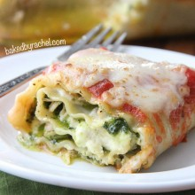Pesto Chicken Lasagna Rolls Recipe from bakedbyrachel.com