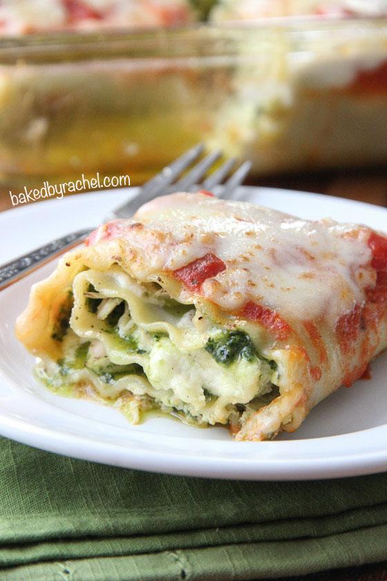 Pesto Chicken Lasagna Rolls Recipe from bakedbyrachel.com