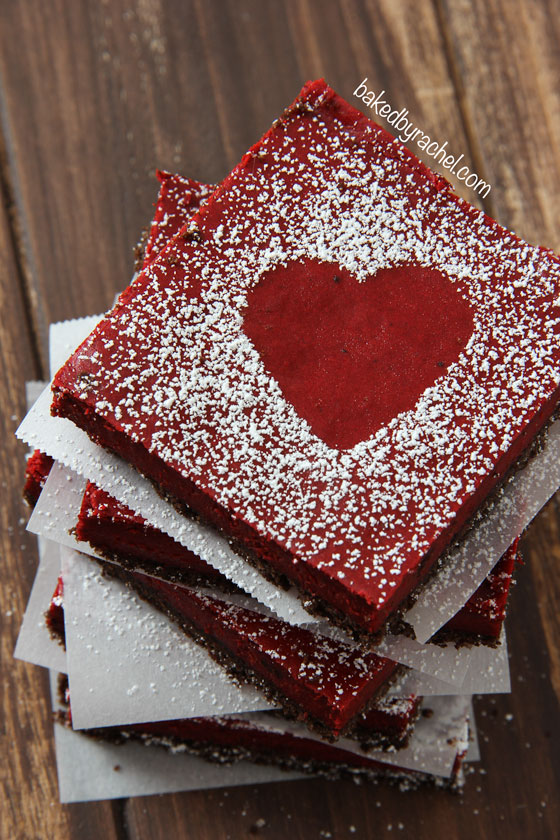 Red Velvet Cheesecake Bars Recipe from bakedbyrachel.com