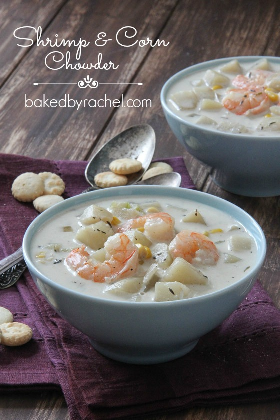 Slow Cooker Shrimp and Corn Chowder Recipe from bakedbyrachel.com