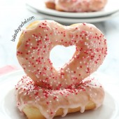 Strawberry Glazed Heart Donut Recipe from bakedbyrachel.com