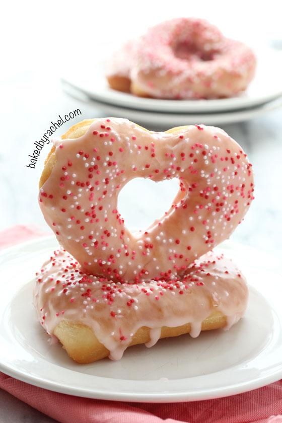 Strawberry Glazed Heart Shaped Donuts for Valentine's Day from bakedbyrachel.com