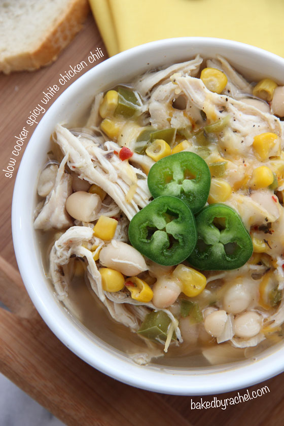 Slow Cooker Spicy White Chicken Chili Recipe from bakedbyrachel.com