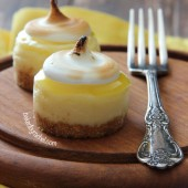 Mini Lemon Meringue Cheesecakes Recipe from bakedbyrachel.com