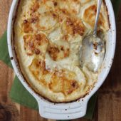 Four Cheese Garlic Scalloped Potatoes Recipe from bakedbyrachel.com