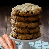 Thick and chewy oatmeal chocolate chip carrot cake cookies from bakedbyrachel.com