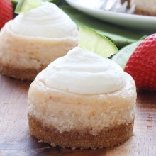 mini strawberry margarita cheesecakes from bakedbyrachel.com