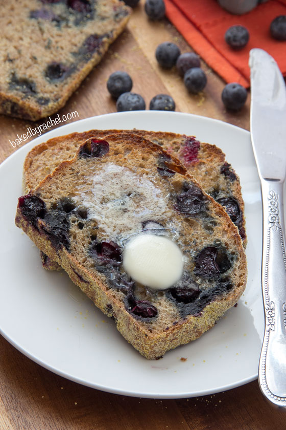Your favorite English muffin turned into a loaf of bread, bursting with banana and blueberry flavor! Recipe at bakedbyrachel.com