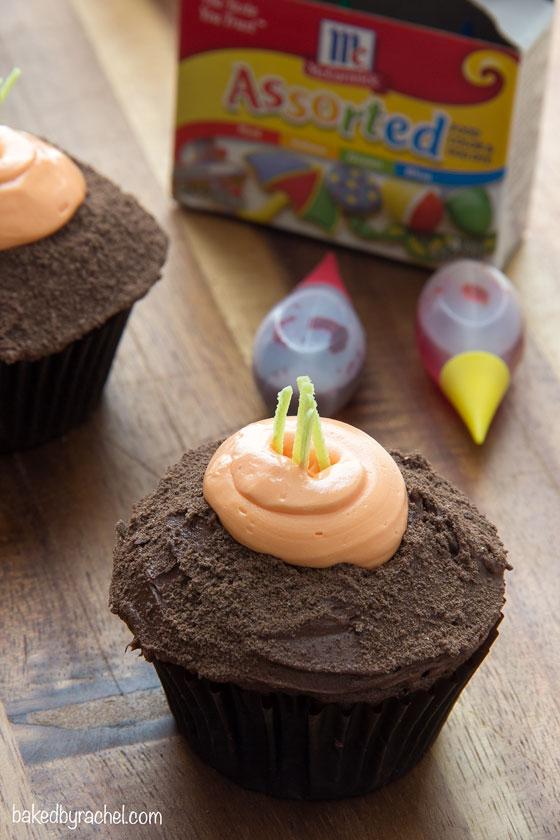 Moist chocolate carrot patch cupcakes! A fun and festive Spring treat!   bakedbyrachel.com