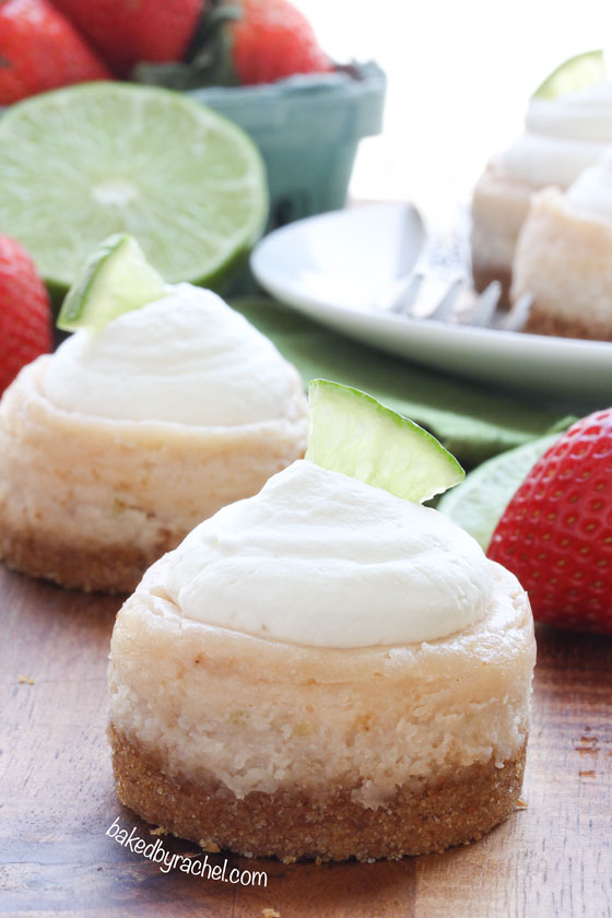 Mini strawberry margarita cheesecakes, perfect for Cinco de Mayo or any celebration! Recipe by @bakedbyrachel