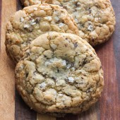 Coconut chocolate chunk cookies with sea salt from bakedbyrachel.com