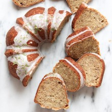 Coconut banana bundt cake with lime glaze from bakedbyrachel.com
