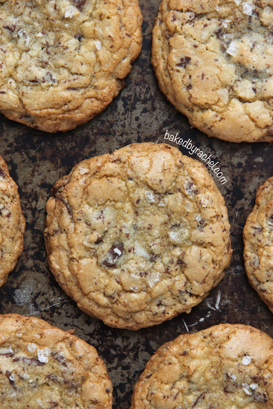 Chewy coconut chocolate chunk cookies, topped off with flaked sea salt. A must try cookie from @bakedbyrachel