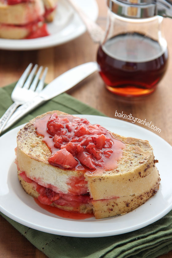 Thick sliced strawberry stuffed French toast. A must make for breakfast or brunch! Recipe from @bakedbyrachel