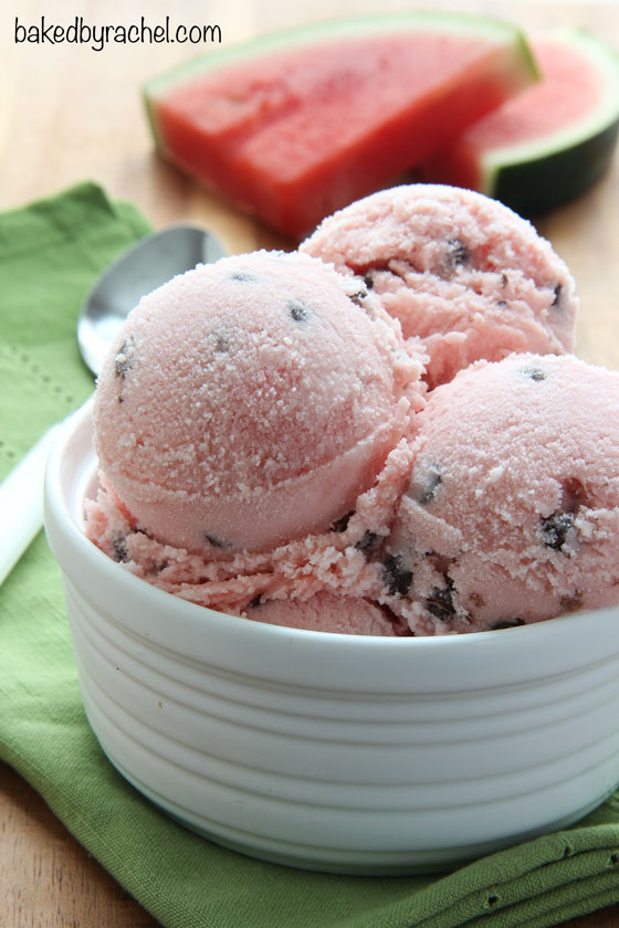 Refreshing homemade watermelon sherbet recipe from @bakedbyrachel. A fun frozen treat for hot Summer days!