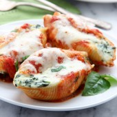 Spinach-ricotta stuffed shells recipe from @bakedbyrachel