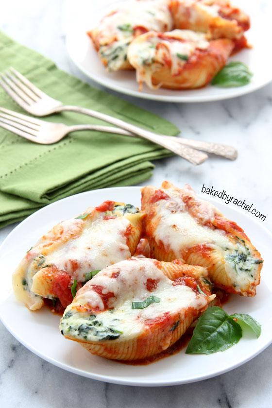 Spinach-ricotta stuffed shells recipe from @bakedbyrachel