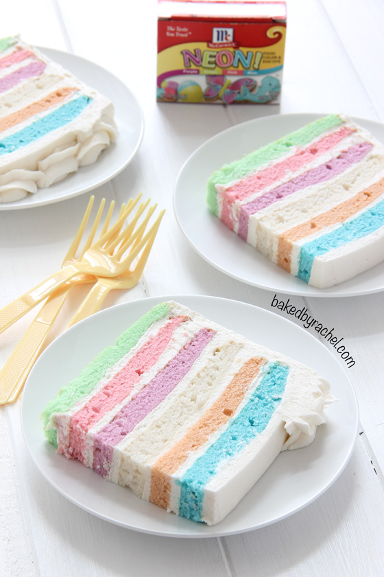 Square Pastel Layer Cake Recipe from @bakedbyrachel