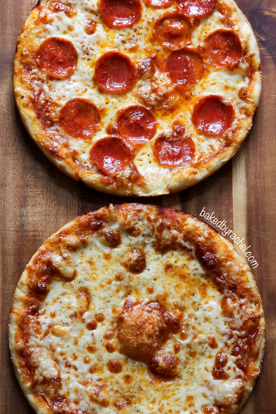 Three cheese pan pizza recipe from @bakedbyrachel