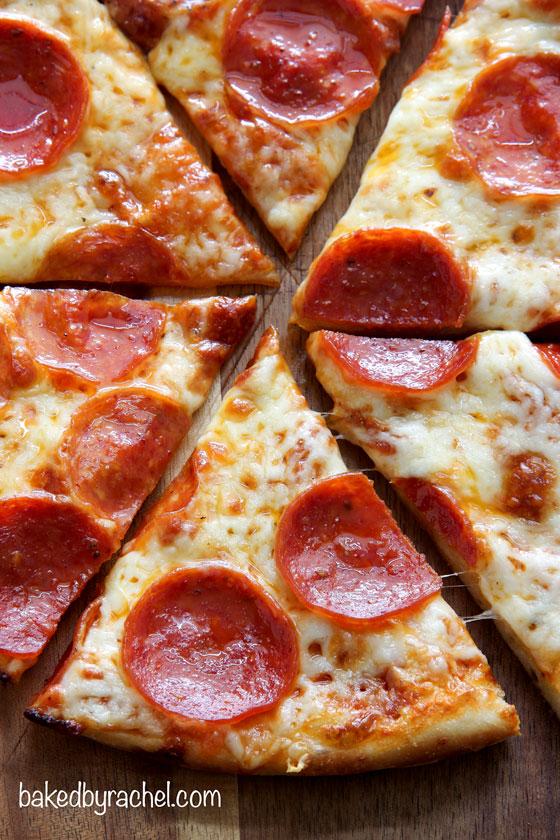Three cheese pan pizza recipe from @bakedbyrachel