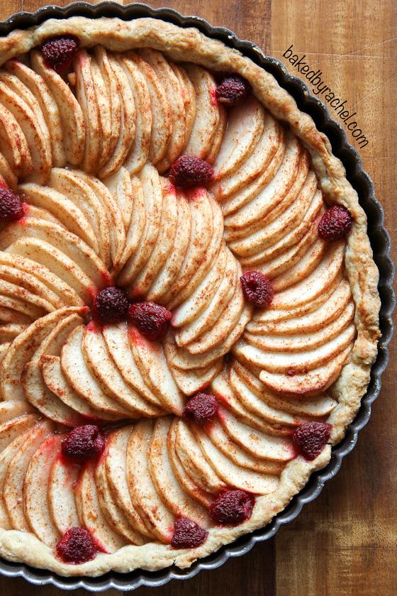Apple raspberry tart with all butter crust recipe from @bakedbyrachel