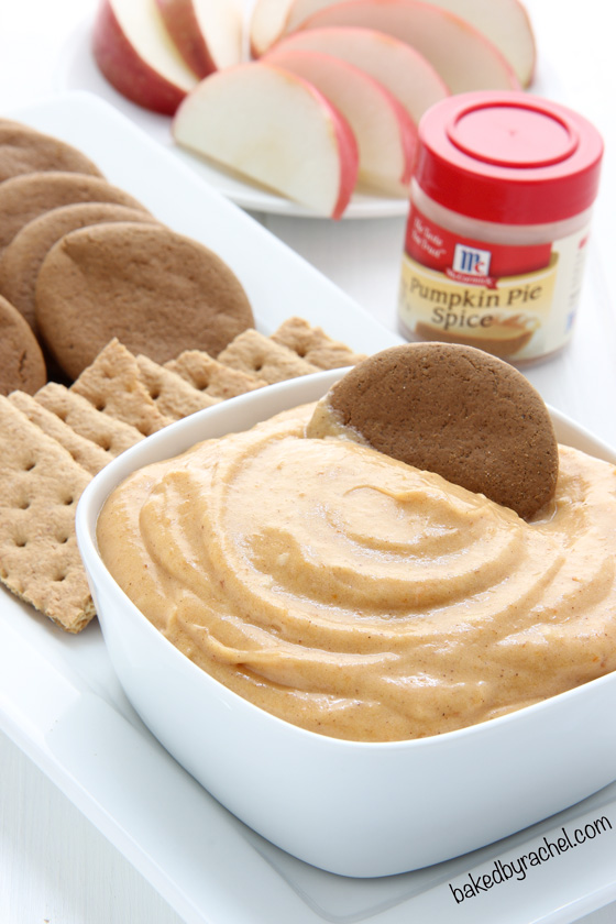 Creamy homemade caramel pumpkin pie dip recipe from @bakedbyrachel