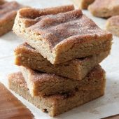 Snickerdoodle Blondie Bars Recipe from bakedbyrachel.com
