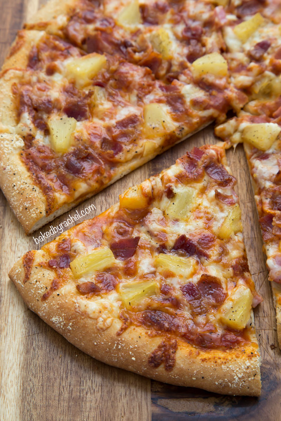Three Cheese Hawaiian Pizza with 5 Minute Dough Recipe from @bakedbyrachel