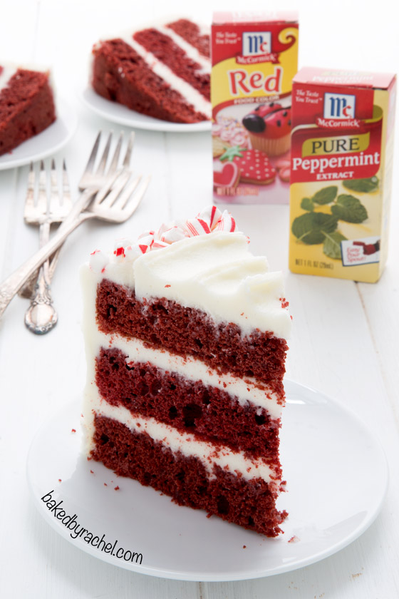 Red velvet layer cake with peppermint cream cheese frosting recipe from @bakedbyrachel