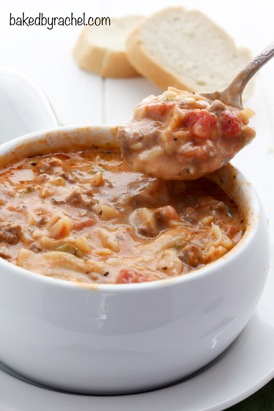 Easy slow cooker lasagna soup recipe from @bakedbyrachel