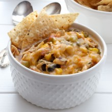 Hearty slow cooker black bean chicken taco chili recipe from @bakedbyrachel