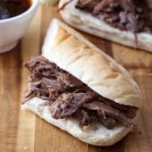 Slow cooker Guinness shredded beef French dip sandwich recipe from @bakedbyrachel
