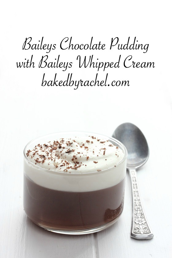 Baileys chocolate pudding with Baileys whipped cream recipe from @bakedbyrachel