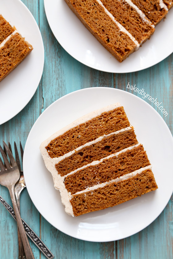 Moist carrot layer cake with cinnamon cream cheese frosting. Made with applesauce! Recipe from @bakedbyrachel